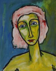 Frau mit rosa Haar  -- € 1.200,-