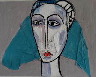 Portrait blauer Schleier -- € 3.300,-