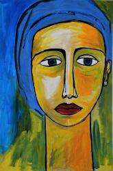 Portrait mit blauem Tuch  -- € 3.900,-