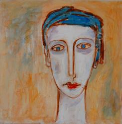 Portrait mit blauer Kappe   -- € 1.500,-