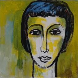 Portrait mit gelbem Grund --- € 1.300,-