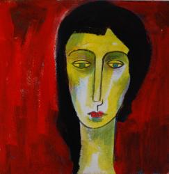 Portrait mit rotem Grund   -- € 1.200,-